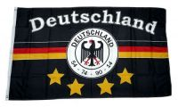 Fahne / Flagge Deutschland Fußball 4 Sterne schwarz 150 x 250 cm