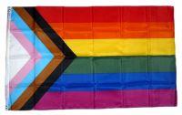 Fahne / Flagge Progress Pride Regenbogen 90 x 150 cm