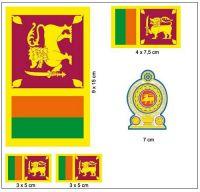 Fahnen Aufkleber Set Sri Lanka