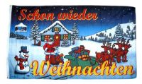 Fahne / Flagge Schon wieder Weihnachten 90 x 150 cm