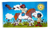 Fahne / Flagge Indianerkinder 90 x 150 cm