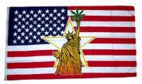 Fahne / Flagge USA - Freiheitsstatue Hanf 90 x 150 cm