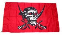 Fahne / Flagge Pirat Totenkopf rot 90 x 150 cm
