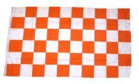 Fahne / Flagge Karo weiß / orange 90 x 150 cm