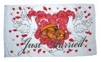 Fahne / Flagge Just Married Hochzeit weiß 90 x 150 cm