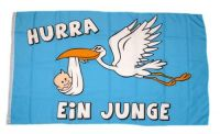 Fahne / Flagge Hurra ein Junge! 90 x 150 cm