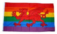 Fahne / Flagge Wales Regenbogen 90 x 150 cm
