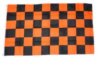 Fahne / Flagge Karo orange / schwarz 90 x 150 cm