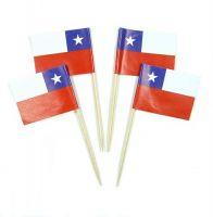 50 Minifahnen Dekopicker Chile 30 x 40 mm