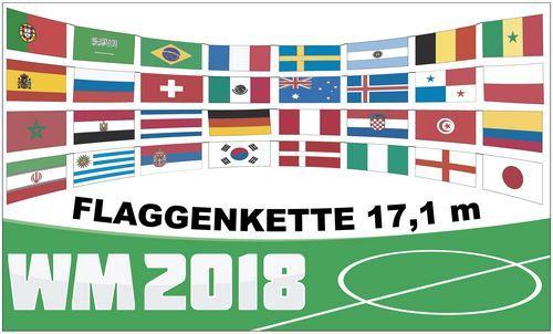 Flaggenkette WM 2018 32 Teilnehmerländer 17 m