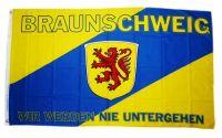 Fahne / Flagge Braunschweig Wir werden nie untergehen 90 x 150 cm