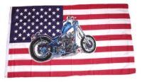 Fahne / Flagge USA - Motorrad 90 x 150 cm