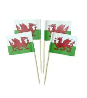 50 Minifahnen Dekopicker Wales 30 x 40 mm