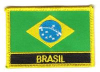 Fahnen Aufnäher Brasilien Schrift