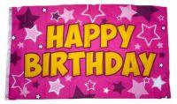 Fahne / Flagge Happy Birthday rosa 90 x 150 cm