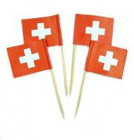 50 Minifahnen Dekopicker Schweiz 30 x 40 mm