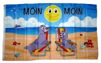 Fahne / Flagge Moin Moin Robben Sonne 90 x 150 cm