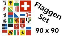 Flaggenset Schweiz 26 Kantone 90 x 90 cm