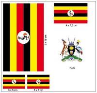 Fahnen Aufkleber Set Uganda