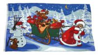 Fahne / Flagge Weihnachten Rentier Schlitten 60 x 90 cm