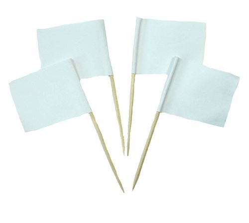 50 Minifahnen Dekopicker Einfarbig Weiß 30 x 40 mm