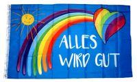 Fahne / Flagge Alles wird gut Regenbogen 90 x 150 cm