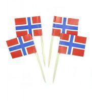 50 Minifahnen Dekopicker Norwegen 30 x 40 mm