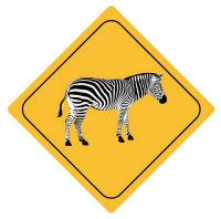 Aufkleber Sticker Achtung Zebra Autoaufkleber