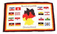 Flagge / Fahne Deutschland 16 Bundesländer Karte Hissflagge 90 x 150 cm