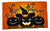 Fahne / Flagge Happy Halloween Kürbisse 90 x 150 cm