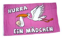 Fahne / Flagge Hurra ein Mädchen! 90 x 150 cm