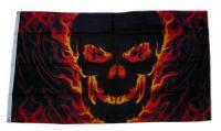 Fahne / Flagge Totenkopf Feuer Skull 90 x 150 cm