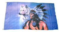 Fahne / Flagge Indianer Wolf 90 x 150 cm