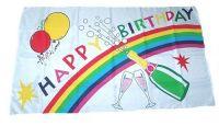 Fahne / Flagge Happy Birthday weiß 30 x 45 cm