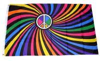 Fahne / Flagge Peace Zeichen Regenbogen 90 x 150 cm