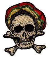 Aufnäher Patch Totenkopf Reggae