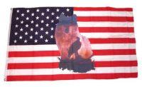 Fahne / Flagge USA - Wolf mit Adler 90 x 150 cm