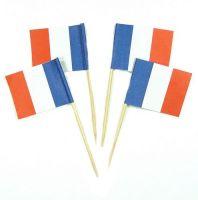 50 Minifahnen Dekopicker Frankreich 30 x 40 mm