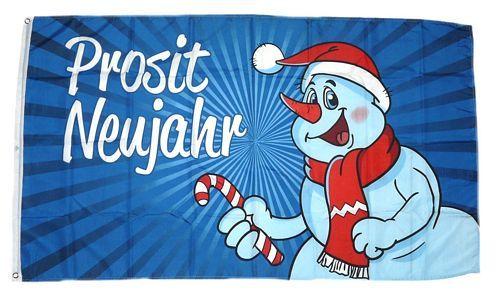 Flagge Prosit Neujahr Schneemann 90 x 150 cm Fahne