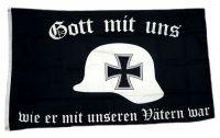 Fahne / Flagge Gott mit uns Stahlhelm 90 x 150 cm