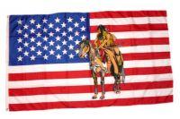 Fahne / Flagge USA - Indianer auf Pferd 90 x 150 cm