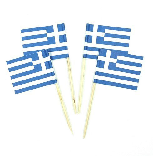 50 Minifahnen Dekopicker Griechenland 30 x 40 mm