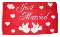 Fahne / Flagge Just Married Hochzeit 90 x 150 cm