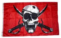 Fahne / Flagge Pirat Säbel rot 90 x 150 cm