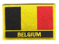 Fahnen Aufnäher Belgien Schrift