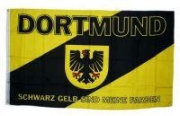 Fahne / Flagge Dortmund Wappen schwarz / gelb 90 x 150 cm