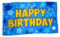 Fahne / Flagge Happy Birthday blau 90 x 150 cm