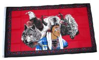 Fahne / Flagge Indianer Wolf & Adler 90 x 150 cm