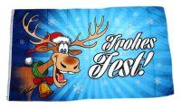 Fahne / Flagge Frohes Fest Elch Weihnachten blau 90 x 150 cm