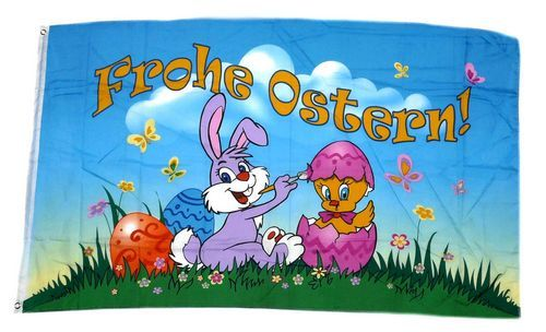 Flagge Fahne Frohe Ostern Hasenpaar Hissflagge 90 x 150 cm